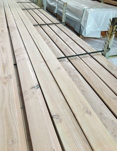 """A fresh run of coated Tundra Cladding - we have achieved a blonded """"scandi"""" look with this batch. Off to a new home in Morningside, Auckland Timber Cladding, Douglas Fir, Good Ol, Auckland, Natural Wood, New Homes, Exterior, Rustic, Fresh"""