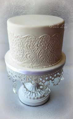 Round Wedding Cakes - Wedding cake for the top of my cupcake display.  First time using sugar veil - soooo happy with how it turned out.  Cake was 6 caramel mud cake, filled with caramel buttercream and covered in white chocolate ganache, then sugarpaste
