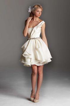 Short bridal dress on one shoulder