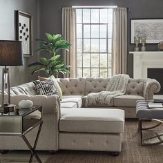 Shop Knightsbridge Tufted Scroll Arm Chesterfield U-Shape Sectional with Chaise by iNSPIRE Q Artisan - On Sale - Overstock - 20664660 Apartment Room, Living Room Color Schemes, Living Room Sofa, Living Room Furniture, Sectional Sofa, Living Room Sectional, Sectional, U Shaped Couch, Living Room Designs