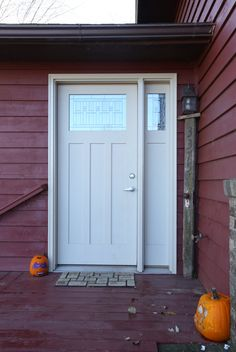 Exterior Doors | craftsman style front door with designer glass and a sidelite | Bayer Built Woodworks