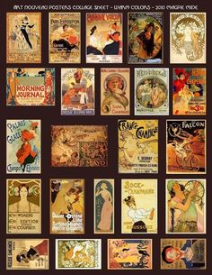 collage- art nouveau posters