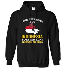 Canada is My Home Now But Indonesia Forever Runs Through My Veins T-Shirts, Hoodies. SHOPPING NOW ==► https://www.sunfrog.com/States/Canada-is-My-Home-Now-But-Indonesia-Forever-Runs-Through-My-Veins-movaakserk-Black-Hoodie.html?id=41382