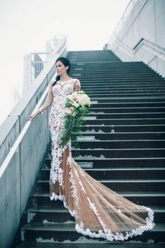 """From the wedding experts at Style Me Pretty, """"real brides who skipped the nontraditional all-white gown route for a fashion-forward bridal look"""". Sexy Wedding Dresses, Tulle Wedding, Wedding Wear, Bridesmaid Dresses, Bohemian Style Dresses, Engagement Dresses, Mermaid Prom Dresses, Bridal Gowns, Long Sleeve"""