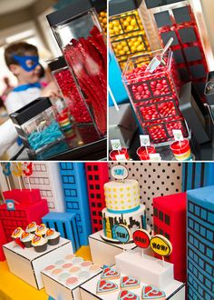 M is already requesting a super hero 5th birthday... love these buildings with candy.