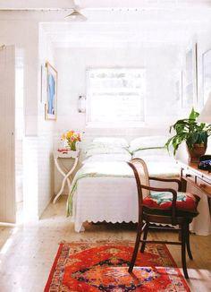 "*Think about what make this white room so bright... Another pinner said: ""Loving this bright white small bedroom."" (see comments)"