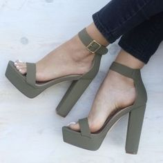 Square Away Chunky Faux Nubuck Heels - Olive - Gojane $34.90