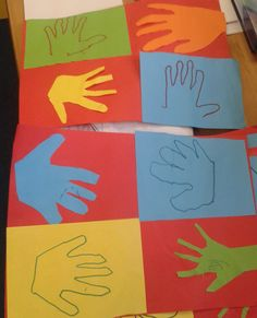 As our first week long topic of RRS (Rights Respecting Schools) we work with our classmates swapping our cut out hands with peers and drawing round each others hands. Each end product involved the display of four children's hands. With each hand that was used the artist and peer also shook hands to promise to act responsibly and be a role model classmate.