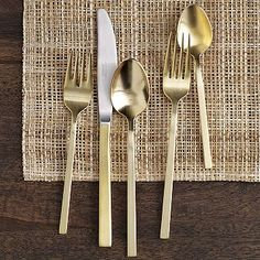 I want these so bad!! They were on @One Kings Lane for cheaper, but need an 8 settings. Gold Flatware 5-pc. Set #WestElm,