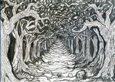 Creepy ink drawing print Haunted Trail by PaigeMart on Etsy, $40.00