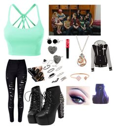 """""""The Boys introducing you to Hey Violet"""" by calum96hood ❤ liked on Polyvore featuring LE3NO, Bling Jewelry, Topshop, Betsey Johnson, Michael Kors and Lime Crime"""