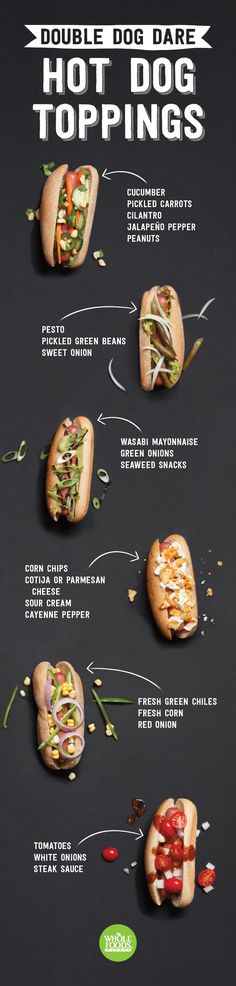 HOT DOG TOPPINGS ~ 6 different ideas for fun and tasty hot dog creations!