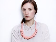 Salmon Braid  Knotted necklace with beads von ChezKristel auf Etsy, $45.00