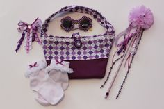 Girls Purple and White Argyle Purse/Accessories Set by Anna's Array, $30.00 USD