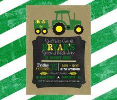 Tractor birthday invitation  John Deere Farm by SevenStoryMountain