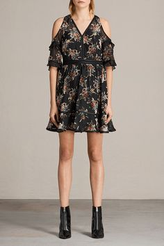 AllSaints New Arrivals: Christal Rosarium Dress.   The Christal Rosarium Dress has a velvet devore burnt out print. Other features are cut-out shoulders and ruffle trims along the sleeves.
