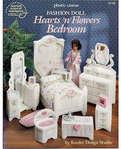 Fashion Doll Hearts N Flowers Bedroom Plastic Canvas Pattern Book ASN 3140.