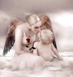 Mother angel friend by vivi-art on DeviantArt Angels Among Us, Angels And Demons, Angel Quotes, I Believe In Angels, My Guardian Angel, Angelic Angel, Ange Demon, Beautiful Mind, In Loving Memory