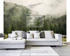 Fototapeta mgła pokrycie jodły las w górski krajobraz na wymiar • drewno, charakter, lato • REDRO.pl