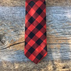 Plaid Necktie. Red Skinny Tie. Buffalo Plaid Tie. Gift for Him. Christmas Tie. Holiday Tie. Simple Tie. Mens Vintage Clothing. Cool Slim Tie by BrinkoTies on Etsy