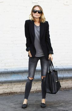 BDG black high wasted distressed jeans, grey T from the Gap, and black blazer…