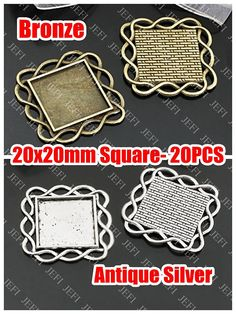 Items similar to 20 Square Pendant Trays- Square Cabochon Mounting, Waved frame, Antique Bronzed or Antique Silver Tone as your choice on Etsy Antique Silver, Trays, Bronze, Pendant, Antiques, Awesome, Creative, Handmade
