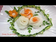 Art In Radish & Carrot Roses Design - Best Vegetable Flower Carving Garnish - YouTube