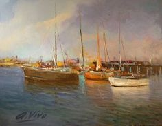 """Saatchi Art Artist Andres Vivo; Painting, """"3749  Fishing boats and piers"""" #art"""