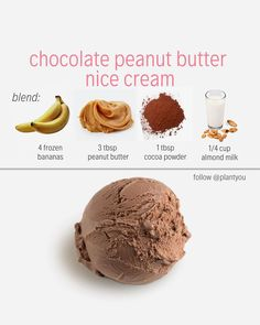 Four Healthy Vegan nice cream recipes *Swipe for all 4 easy + delicious ideas!:)… – My Dukan Diary Vegan Sweets, Vegan Desserts, Healthy Desserts, Dessert Recipes, Cookie Recipes, Icing Recipes, Pudding Recipes, Keto Pudding, Healthy Food