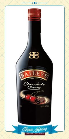 @BaileysUS Chocolate Cherry Irish Cream Liqueur combines luscious chocolate flavor with the bold flavor of dark cherries to create a delicious and versatile cream liqueur made for mixing with other spirits. – Distiller's notes