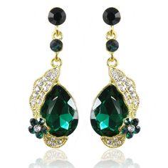 Flower Leaf Oval Drop Pierced Dangle Earrings Austrian Crystal Green E180 #Unbranded #Casual