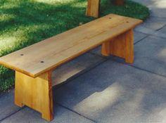 Mission style douglas fir bench with black walnut plugs