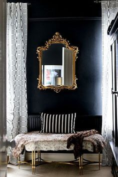 Black Gold Bedroom black bedroom with ornate gold mirror and gold bench Home Decor Bedroom, Living Room Decor, Bedroom Ideas, Bedroom Images, Gold Furniture, Furniture Hardware, Bedroom Furniture, Furniture Ideas, Mirror Furniture