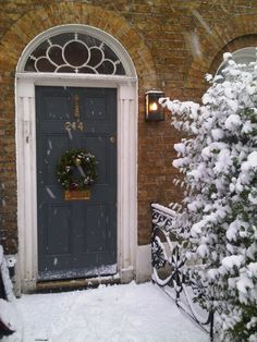 Front door in Farrow and Ball Down Pipe  Click through for The Best Gray Front Door Paint Colours on Modern Country Style