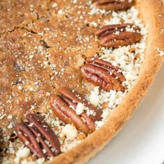 Give traditional pecan pie a twist this holiday season by using finely chopped pecans to create a smooth topping on this chopped pecan pie! | aheadofthyme.com