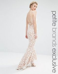 Jarlo Petite Halter Maxi Dress With Strapy Back Detail In All Over Pretty Lace