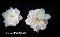 IVORY HAIR FLOWERS - Pair of Hawaiian Delphiniums, Beach Wedding, Bridesmaid, silk hair flowers, Headpiece, Crystal Center, Bridal, hair pin by MalamaPua on Etsy