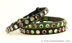 Leather Tri Colored Swarovski Crystal Collar - Find it at The Cat Connection, the largest online retailer of premium cat products.