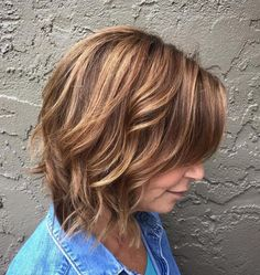 Wavy Brown And Caramel Bob