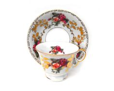 1940s Gilded Garden Roses Tea Cup & Saucer by LaOohLaLaBoutique