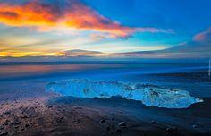 Morze, Brzeg, Chmury, Lód,  Wschód słońca