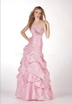 Flowing Fit N Flare Sweetheart Taffeta With Beading Prom Evening Dress
