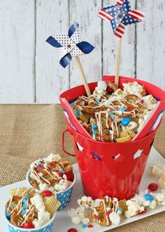 Fourth of July Snack Mix from Glorious Treats, great july fourth idea and more Red, White & Blue Food Ideas for Your Gathering