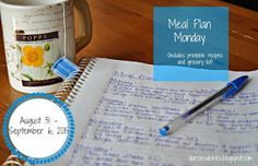 Darcie's Dishes: Meal Plan Monday: 8/31-9/6/15 // This week's meal plan is full of simple but very satisfying recipes. All recipes are sugar-free and Trim Healthy Mama compliant. A printable shopping list is included to take all the guess work out for you.
