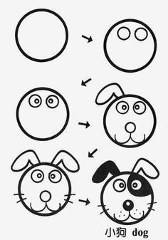 33 ideas for dogs face drawing cartoon Art Drawings For Kids, Doodle Drawings, Drawing For Kids, Cartoon Drawings, Animal Drawings, Easy Drawings, Doodle Art, Art For Kids, Cartoon Dog