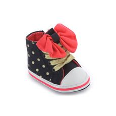 Billieblush - Navy blue and gold spotted canvas trainers - 78934