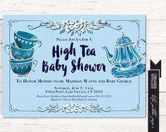 Tea Party Shower Invitation, Baby Boy Tea Party Shower, High Tea Baby Shower, Blue Tea Party Invitation, Bridal Shower Invitation, Madhatter by LittlePebblePaper on Etsy https://www.etsy.com/listing/273576026/tea-party-shower-invitation-baby-boy-tea