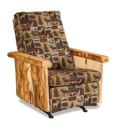 Amish Log Rocker Recliner Perfectly unique for any rustic themed living room. Built in Amish country. Customize to best fit your relaxing scene.