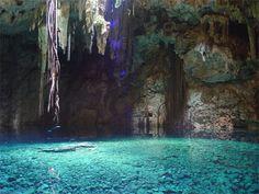 Cenote (clear water sink hole), Rivera Maya, Mexico.