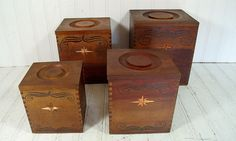 Vintage Set of 4 Nesting Wooden Dovetail Storage by DivineOrders, $40.00